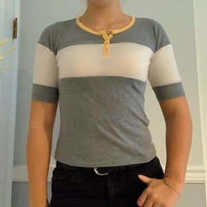 Hollister buttoned yellow and grey t shirt